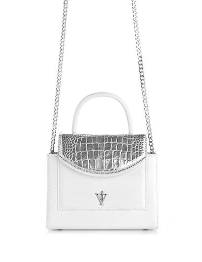 Sansi Womens Shoulder Bag White Leather