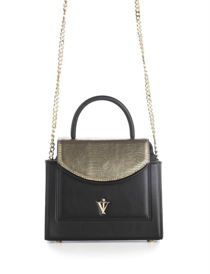 Sansi Womens Shoulder Bag Black Golden