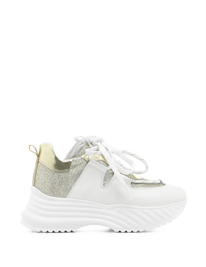Senior Women's Sneaker White Leather-Metallic Gold Mirror-Metallic Gold Crocodile