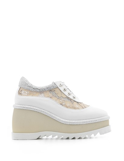 Septer Womens Sneaker White Leather - Silver Print