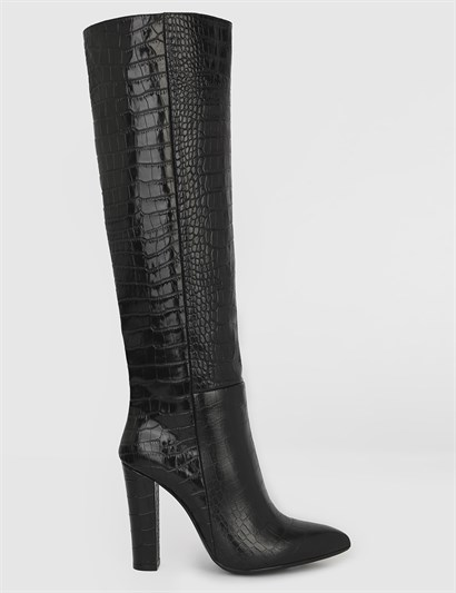 Snow Black Crocodile Leather Womens High Boot