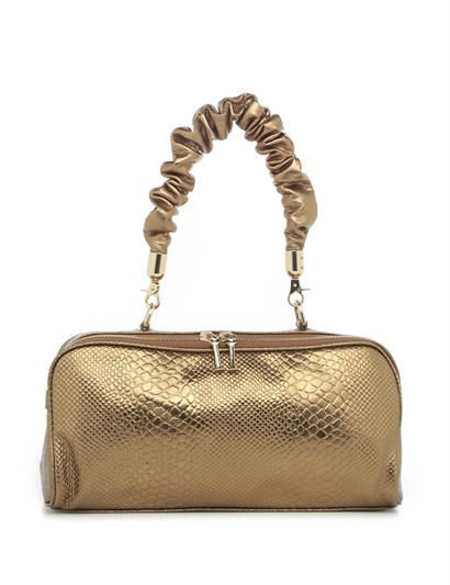 Susan Womens Shoulder Bag Gold Print Leather