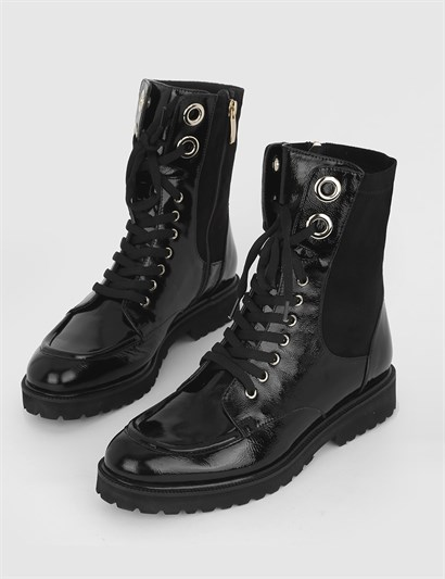 Teol Black Patent Leather Womens Boot