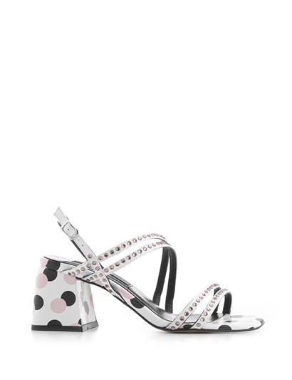 Trol Womens Sandal White-Black-Powder Pink Leather