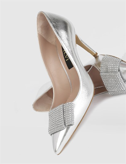 Turep Silver Leather Womens Pump