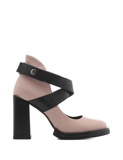 Vera Womens Pump Powder Pink Leather-Black Leather