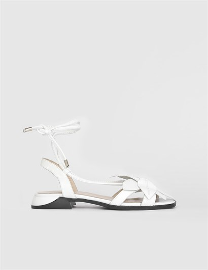 Villa White Leather Womens Sandal
