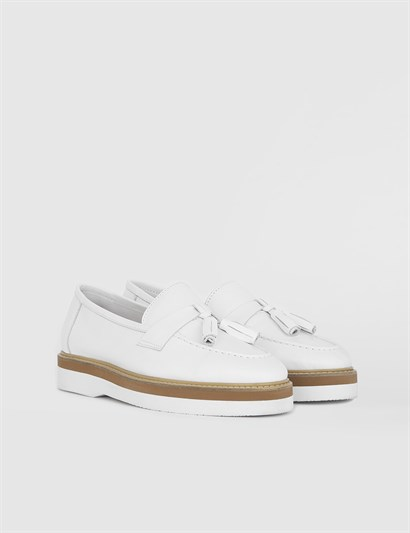 Vita White Leather Womens Loafer