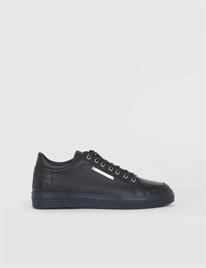 Windom Navy Blue Leather Mens Sneaker