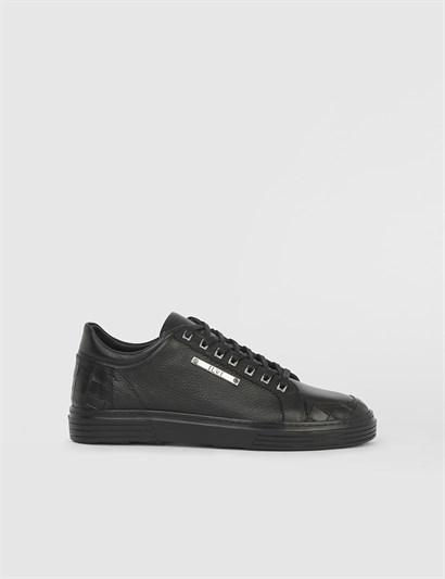 Windom Black Leather Mens Sneaker