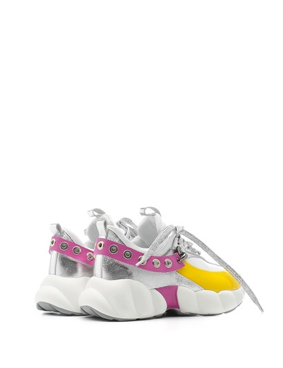World Women's Sneaker White Leather - Yellow - Silver - Fuchsia