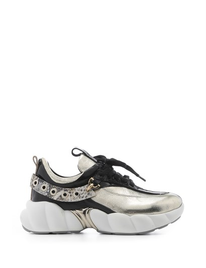 World Womens Sneaker Metallic Gold-Black-Snake