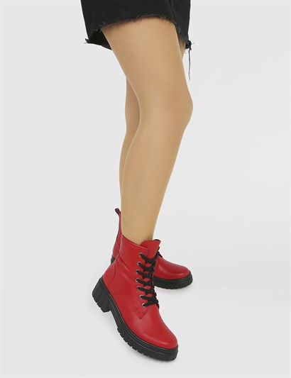 Yerla Red Leather Womens Boot