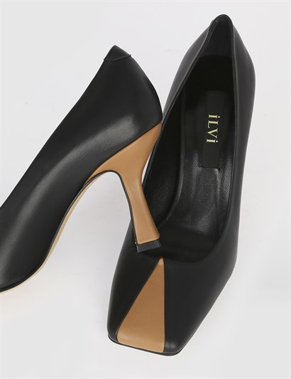 Yetra Black Leather Womens Pump