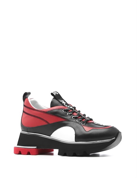 Trea Women's Sneaker Black Red Leather
